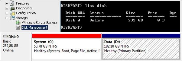 partizione windows 2008 diskpart 4