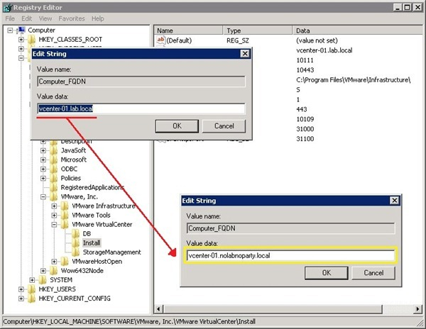 Modificare l'FQDN di VMware vCenter Server