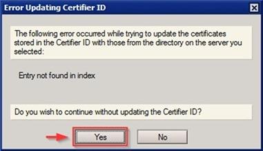 error updating certifier id