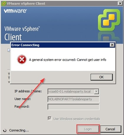 vCSA 6 0 login error with vSphere Client • Nolabnoparty