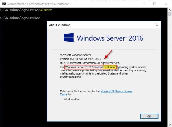 Windows 2016 Server convert Evaluation to Licensed version